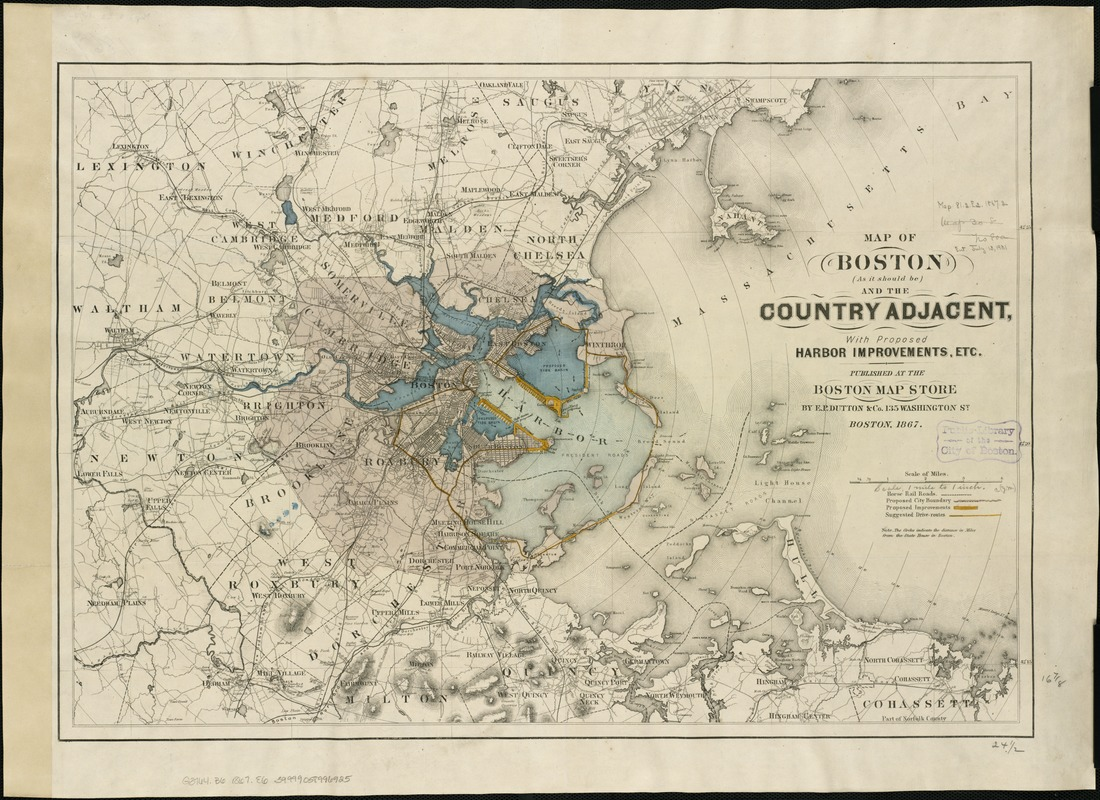 Map of Boston (as it should be) and the country adjacent, with proposed harbor improvements, etc