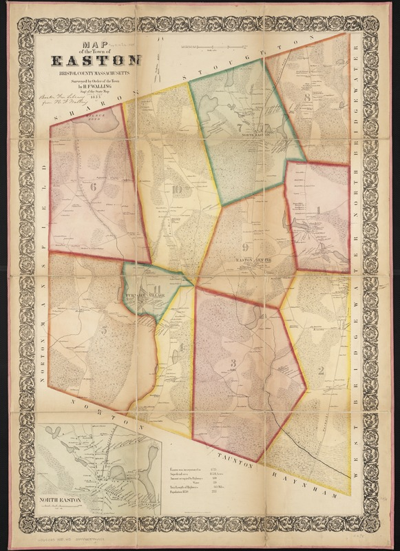 Map of the town of Easton Bristol County Massachusetts Norman B