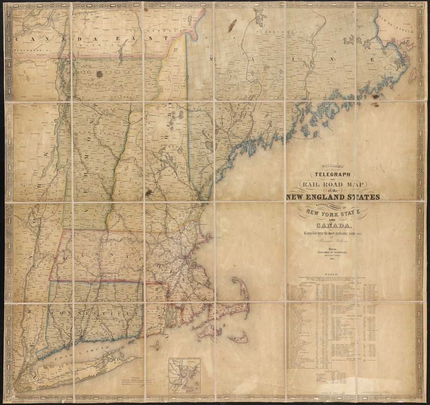 Williams' telegraph and rail road map of the New England states, eastern protion of New York state and Canada