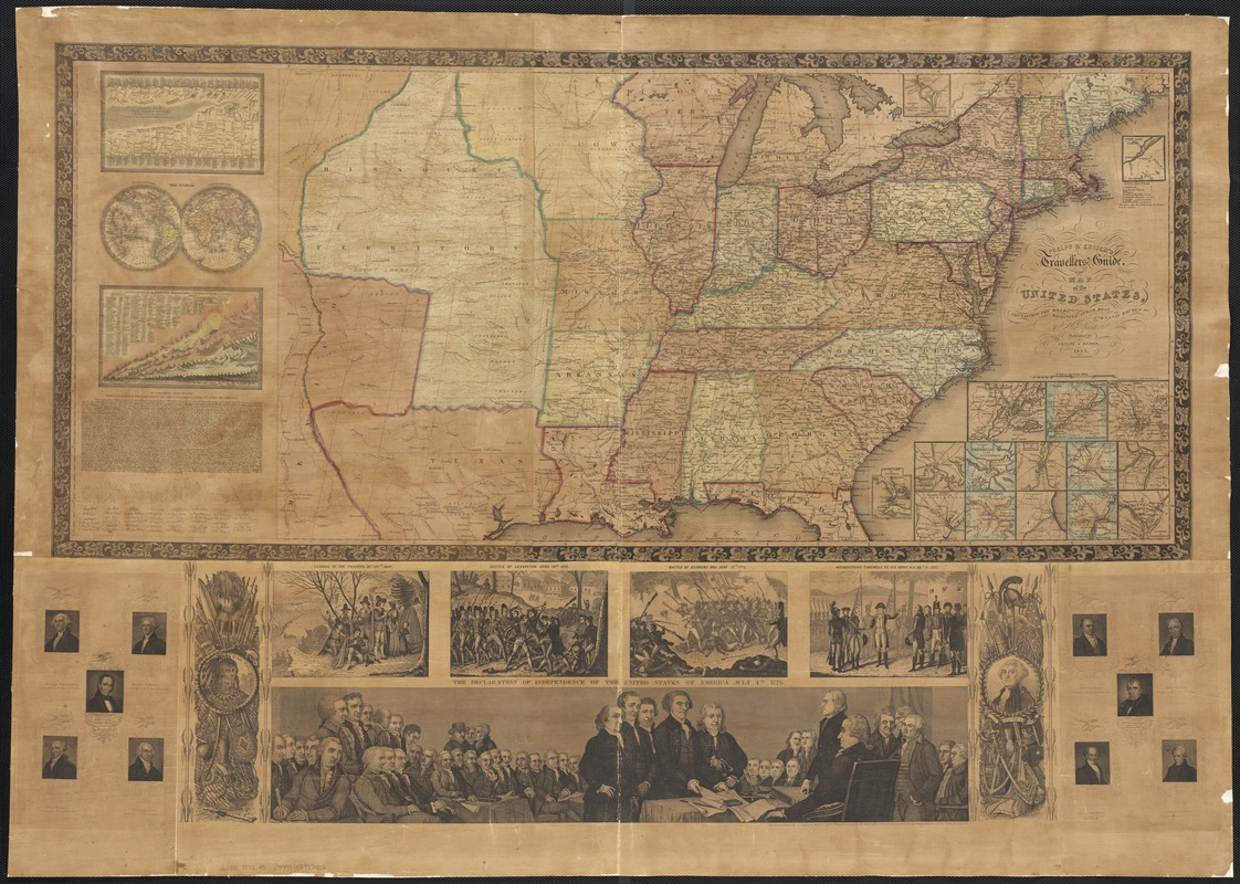 Phelps & Ensign's travellers' guide, and map of the United States, containing the roads, distances, steam boat and canal routes &c