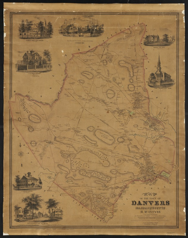 Map of the town of Danvers Massachusetts