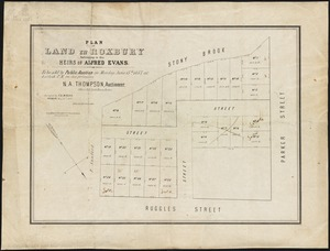Plan of land in Roxbury belonging to the heirs of Alfred Evans