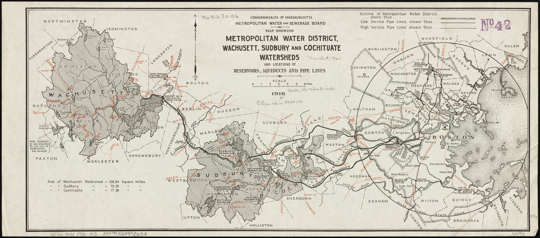 Map showing metropolitan water district, Wachusett, Sudbury and Cochituate watersheds and locations of reservoirs, aqueducts and lead pipes