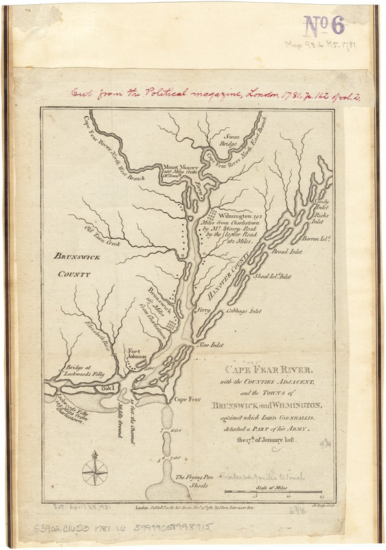 Cape Fear River, with the counties adjacent, and the towns of Brunswick and Wilmington, against which Lord Cornwallis, detached a part of his army, the 17th of January last