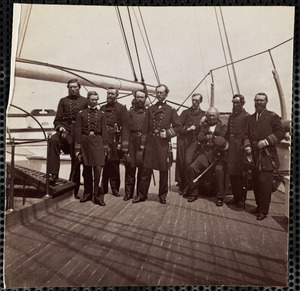 Admiral Dahlgren and Staff on deck of U.S.S. Pawnee Charleston Harbor