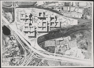This is a conceptual aerial view of the proposed Alewife Brook Park development for the northwest section of Cambridge