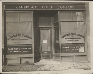 The North Cambridge branch of the Cambridge Trust Company where the daylight robbery was staged