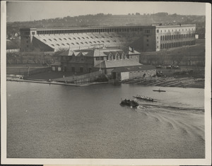 Newell boat house and Harvard stadium, 1928