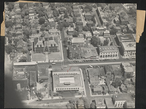 The Cambridge City Hall is shown in this aerial photo which reveals Massachusetts ave., just outside of Central sq.