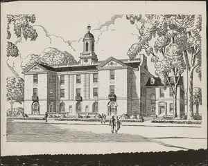 Architect's drawing of the new central office building for Cambridge, which the New England Telephone and Telegraph Company will erect on its property in Ware street