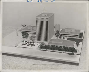 Model shows first phase of planned building construction at NASA's Electronics Research Center, Kendall Square, Cambridge