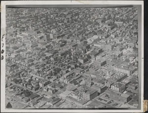 It if were Cambridge where the new atomic bomb was dropped, the area shown in this air view -- roughly centering around the Central Square district -- would have been wiped out completely, together with a broad belt of surrounding territory