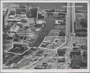 Lot of multi-million dollar office and shopping development to be built by the Badger Company, Inc., starting next spring, is shown in this aerial view of Kendall Sq. Cambridge, which also includes Badger's present buildings