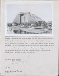 Looking like an ancient Aztec pyramid, the new 500-room Hyatt Regency Cambridge is scheduled to open its doors on July 4, 1976