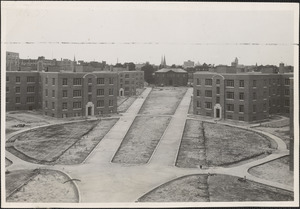 The center yard of the New Towne housing project of the PWA slum clearance development in Cambridge