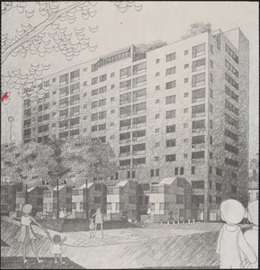 Inman Square housing sketch by architect of the multi-million dollar 116-unit construction