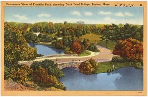 Panorama view of Franklin Park, showing Duck Pond Bridge, Boston, Mass.