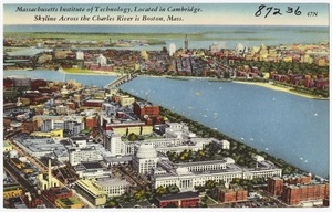 Massachusetts Institute of Technology, located in Cambridge, skyline across the Charles River is Boston, Mass.