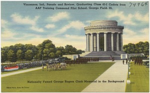 Vincennes, Ind., parade and review, graduating class 43-I cadets from AAF Training Command Pilot School, George Field, Ill., nationally famed George Rogers Clark Memorial in the background