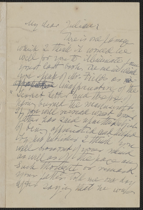 Annie Fields autograph letter signed to Julian Hawthorne, [Boston], approximately 1904 June