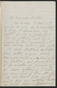 Elizabeth Hawthorne autograph letter signed to James Thomas Fields, [Salem], 12 December 1870