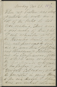 Elizabeth Hawthorne autograph letter signed to James Thomas Fields, [Salem], 26 December 1870