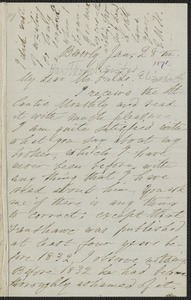 Elizabeth Hawthorne autograph letter signed to James Thomas Fields, Beverly, 28 January 1871