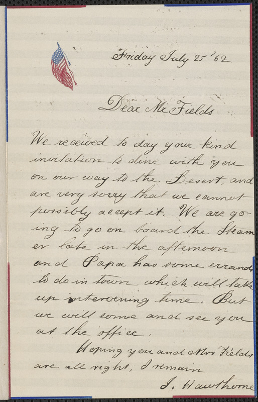 Julian Hawthorne autograph letter signed to James Thomas Fields, [Concord], 25 July 1862