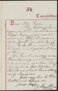 Julian Hawthorne autograph letter signed to James Thomas Fields, Concord, 22 November 1863