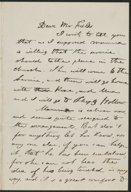 Julian Hawthorne autograph letter signed to James Thomas Fields, [Concord], 22 May 1864