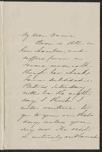 Sophia Hawthorne autograph note signed to Annie Adams Fields, [Concord], 15 April [1861?]