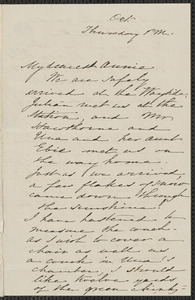 Sophia Hawthorne autograph letter signed to Annie Adams Fields, [Concord], October [1861?]
