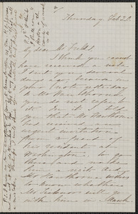 Sophia Hawthorne autograph letter signed to James Thomas Fields, [Concord], 20 February [1862]