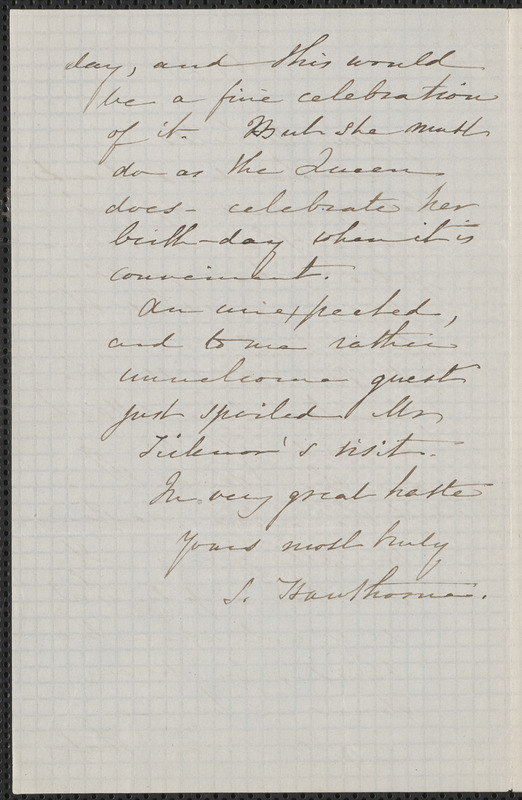Sophia Hawthorne autograph note signed to James Thomas Fields, [Concord], 24 February [1862]