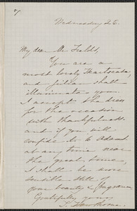 Sophia Hawthorne autograph note signed to James Thomas Fields, [Concord], 26 [February 1862]