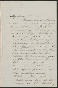 Sophia Hawthorne autograph letter signed to Annie Adams Fields, [Concord], 11 April 1862