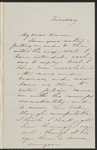 Sophia Hawthorne autograph letter signed to Annie Adams Fields, [Concord], approximately April 1862