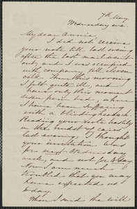 Sophia Hawthorne autograph letter signed to Annie Adams Fields, [Concord], 7 May [1862]