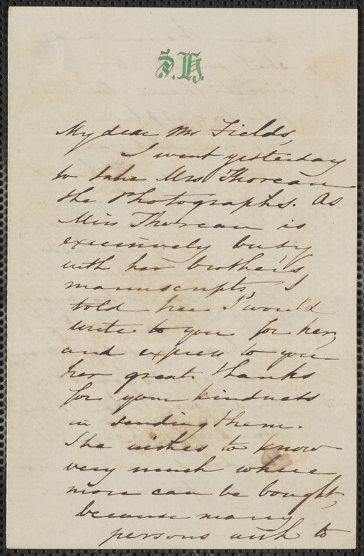 Sophia Hawthorne autograph note signed to James Thomas Fields, [Concord], 17 June [1862]
