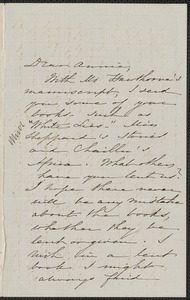 Sophia Hawthorne autograph letter signed to Annie Adams Fields, [Concord], approximately 19 June 1862