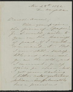 Sophia Hawthorne autograph letter signed to Annie Adams Fields, The Wayside [Concord], 28 November 1862