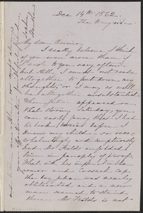 Sophia Hawthorne autograph letter signed to Annie Adams Fields, The Wayside [Concord], 14 December 1862