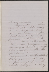 Sophia Hawthorne autograph letter signed to Annie Adams Fields, [Concord], 17 December 1862