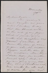 Sophia Hawthorne autograph letter signed to Annie Adams Fields, [Concord], 17 [December 1862]
