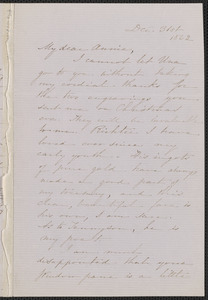 Sophia Hawthorne autograph letter signed to Annie Adams Fields, [Concord], 31 December 1862