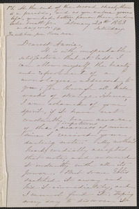 Sophia Hawthorne autograph letter signed to Annie Adams Fields, [Concord, 20] February 1863