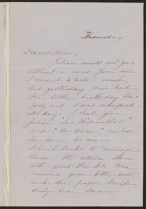 Sophia Hawthorne autograph letter signed to Annie Adams Fields, [Concord, 5 March 1863]