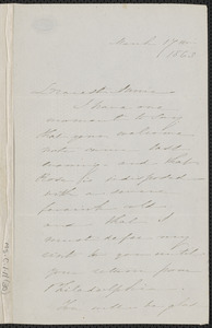 Sophia Hawthorne autograph letter signed to Annie Adams Fields, [Concord], 17 March 1863