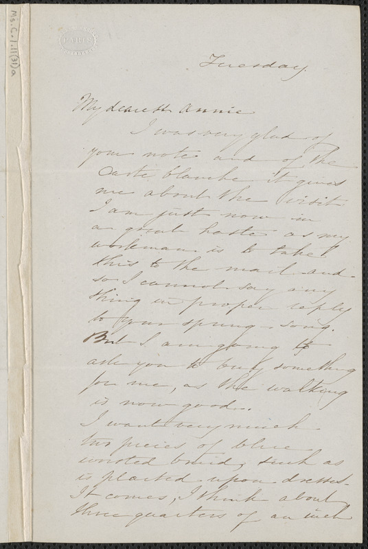 Sophia Hawthorne autograph letter signed to Annie Adams Fields, [March 1863]