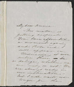 Sophia Hawthorne autograph note signed to Annie Adams Fields, [Concord], approximately 9 June 1862